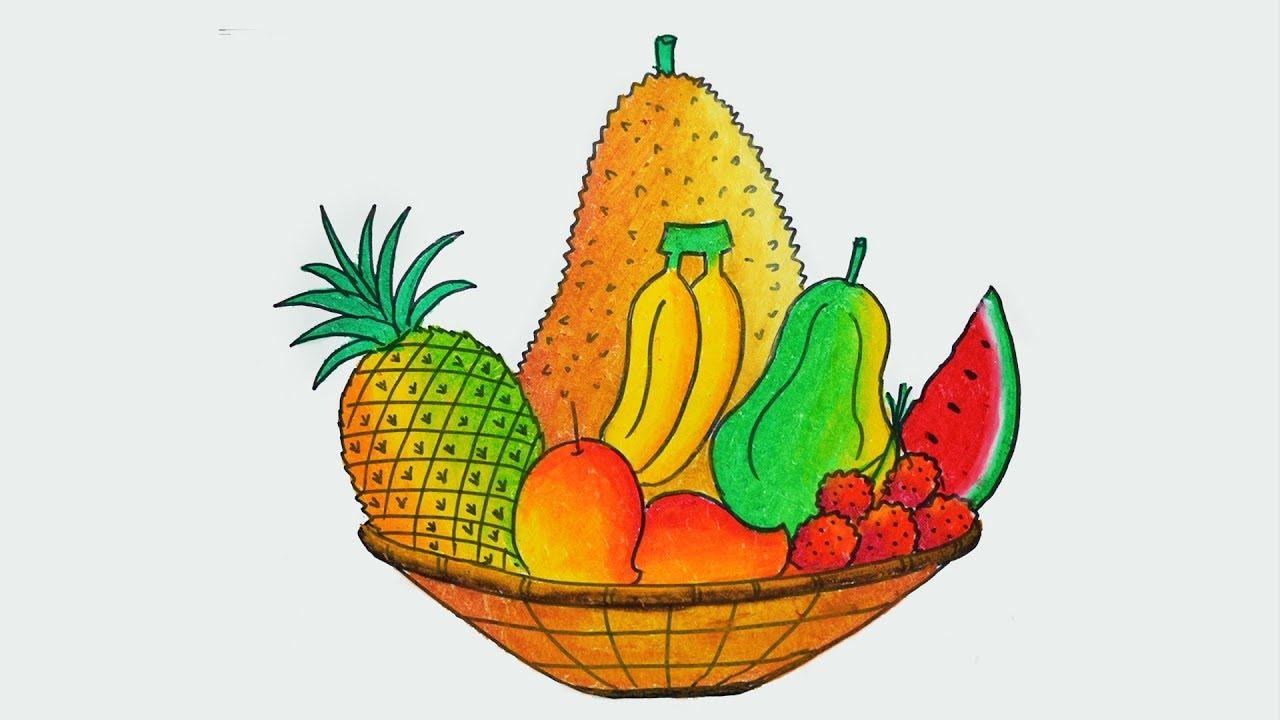 Bananas clipart basket. Of fruit drawing at