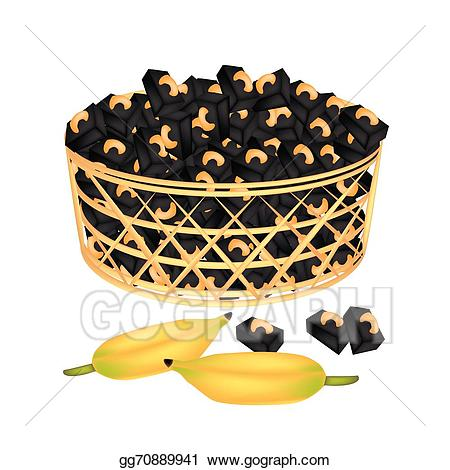 Bananas clipart basket. Eps illustration a brown