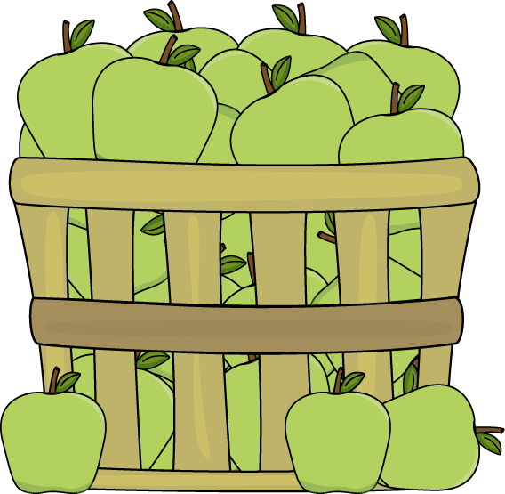 Basket of green apples. Milk clipart fruit