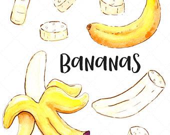Banana painting etsy watercolor. Bananas clipart bnana