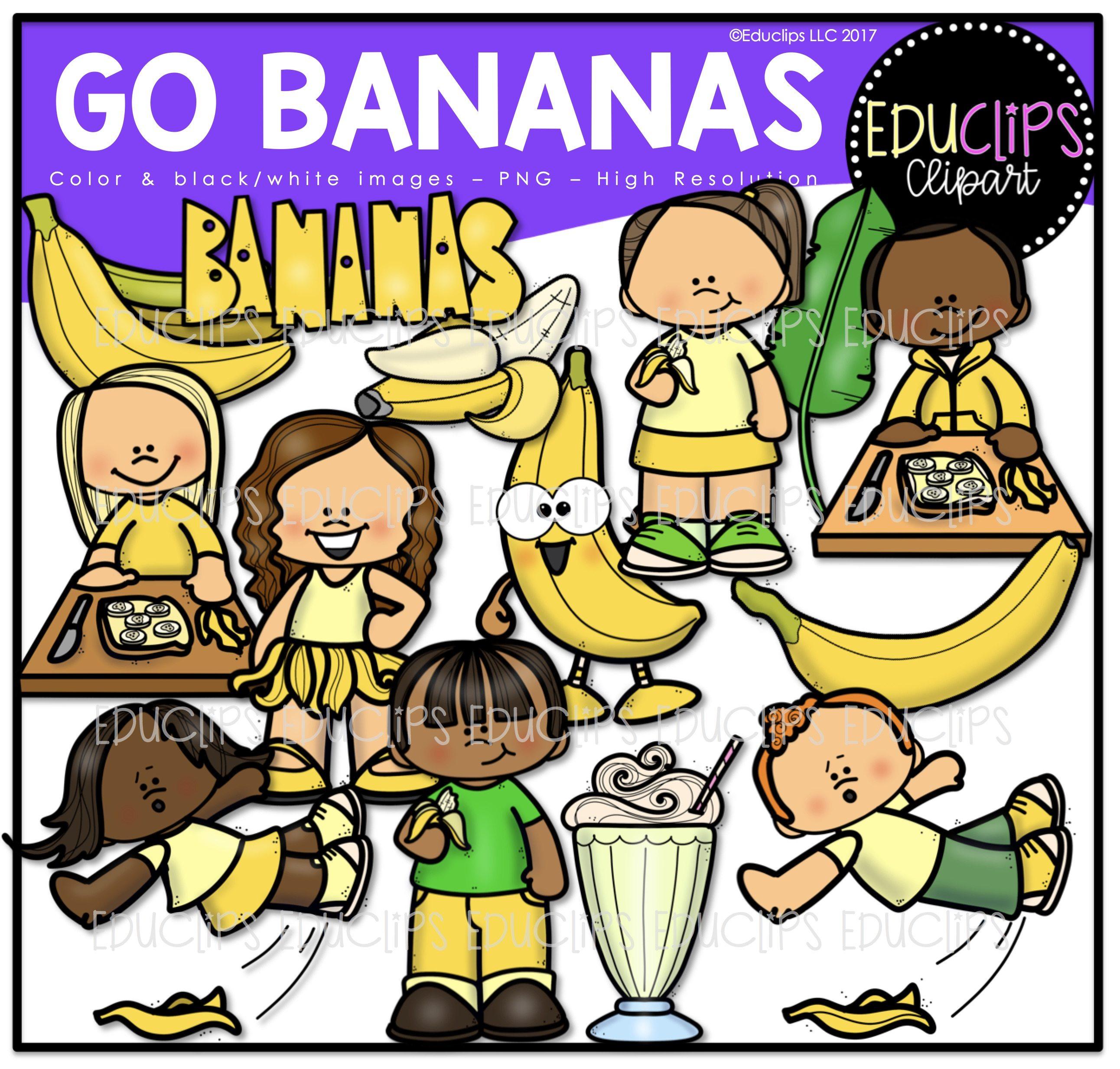 Go clip art bundle. Bananas clipart colored