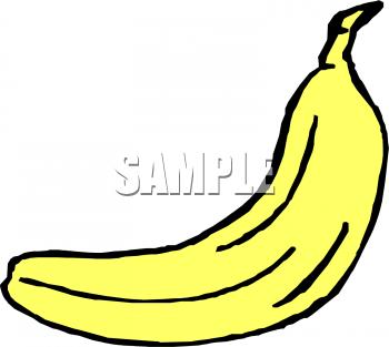 One large yellow banana. Bananas clipart colored