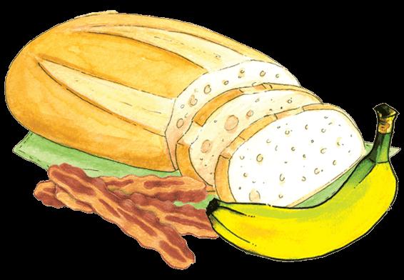 Recipe peanut butter bacon. Bananas clipart double