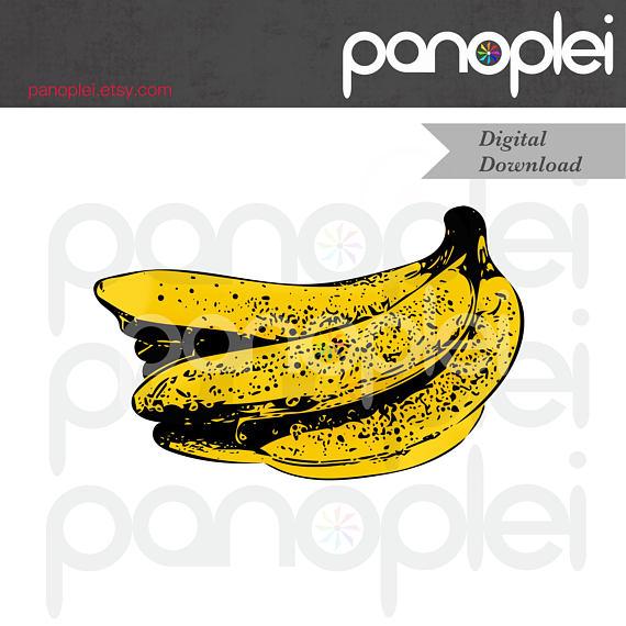 Banana pop art fruit. Bananas clipart double