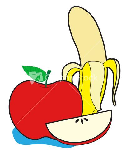 Apple banana and orange. Bananas clipart illustration