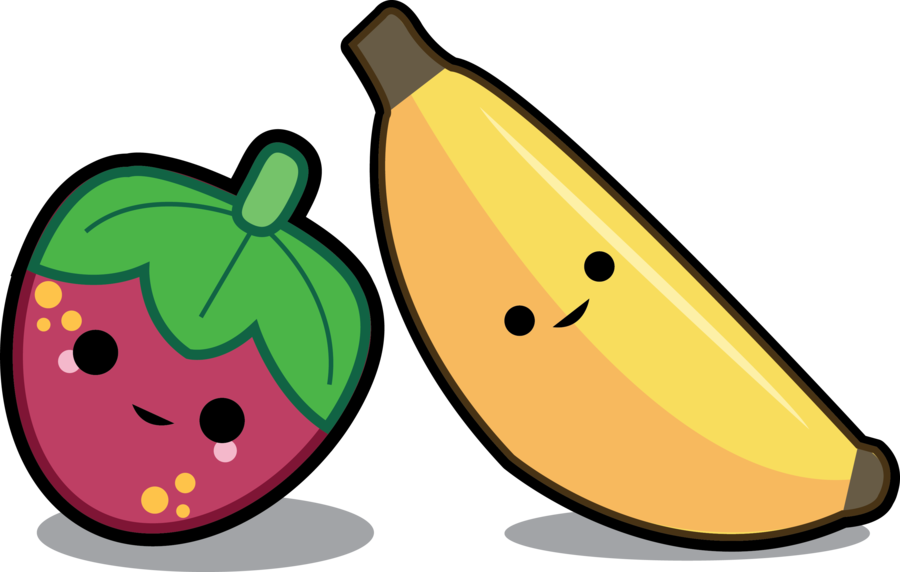 Banana and strawberry best. Strawberries clipart draw