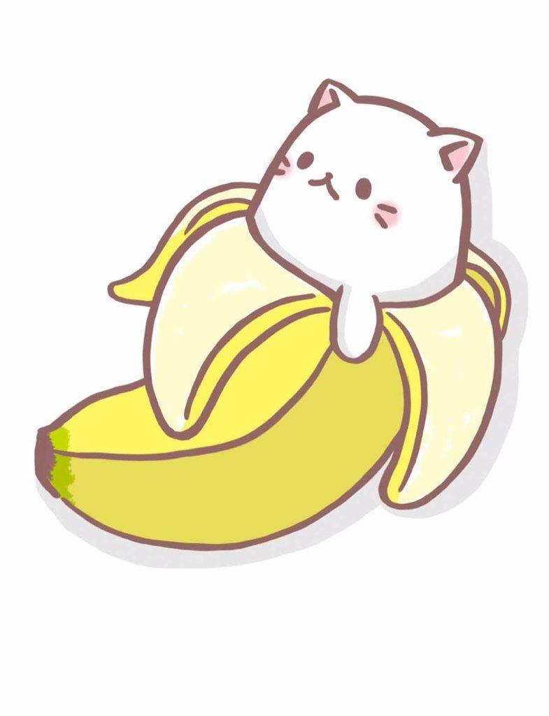 Bananas clipart kawaii. Bananya bananacat on twitter