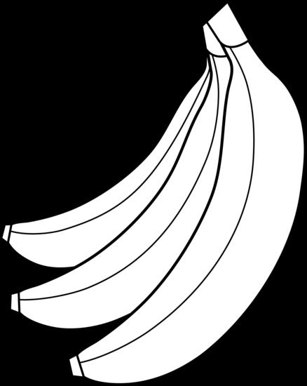 Colorable bunch of bananas. Banana clipart three