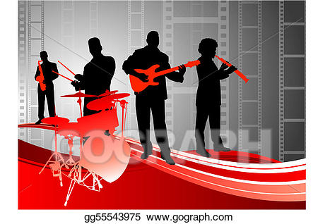 Vector live music on. Band clipart abstract