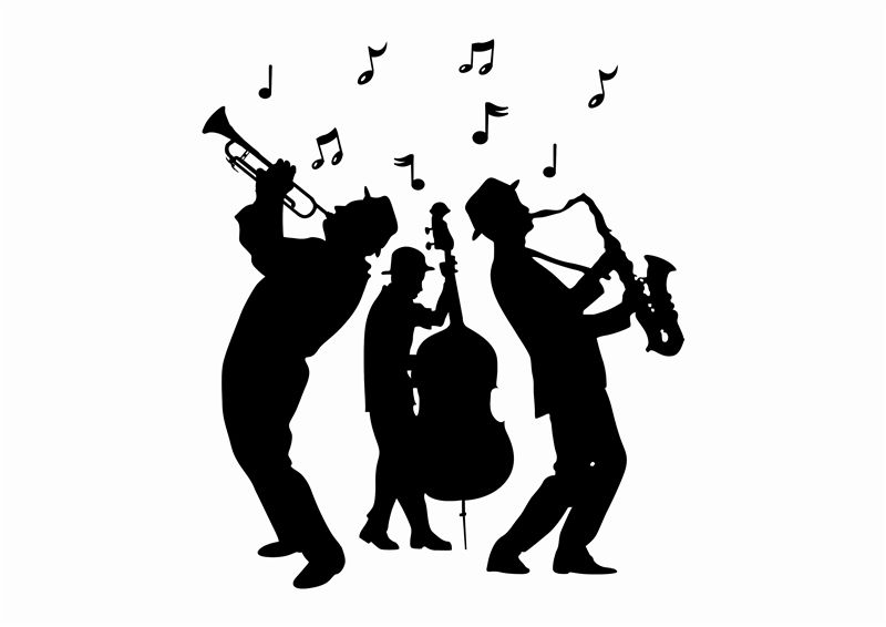 Jazz clipart swing band. Wall decals musicians and