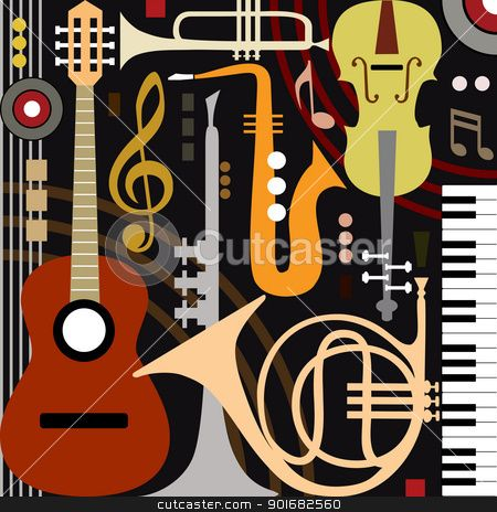 Band clipart abstract. Musical instruments vector illustration