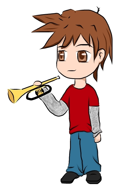 Geeks trumpet boy by. Band clipart band geek