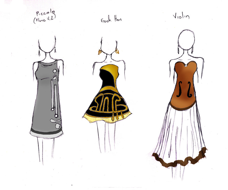 Prom dresses by theghostlyartist. Band clipart band geek
