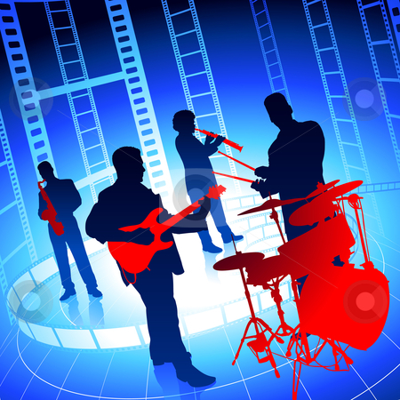 Music on film reel. Band clipart band live