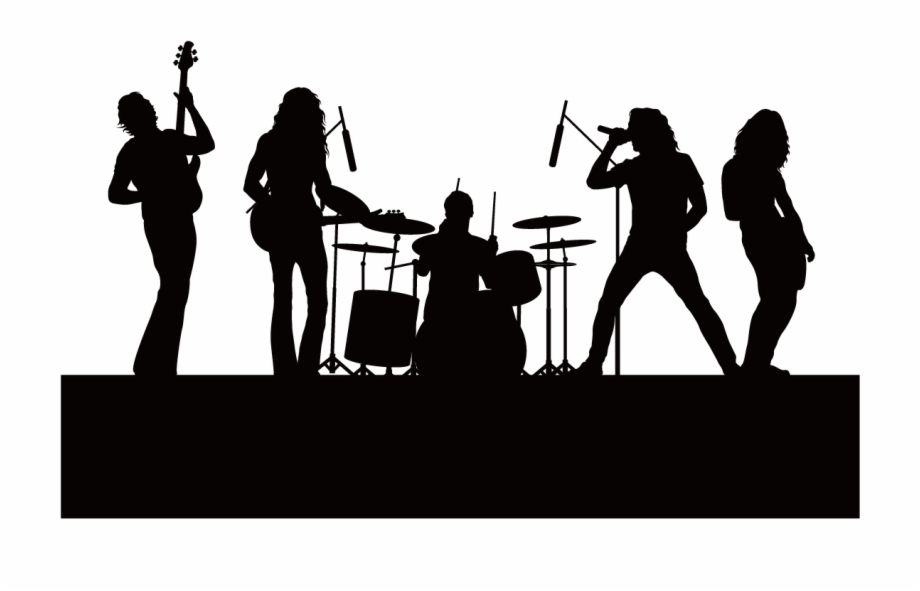 Band clipart band live. Silhouette singing music background