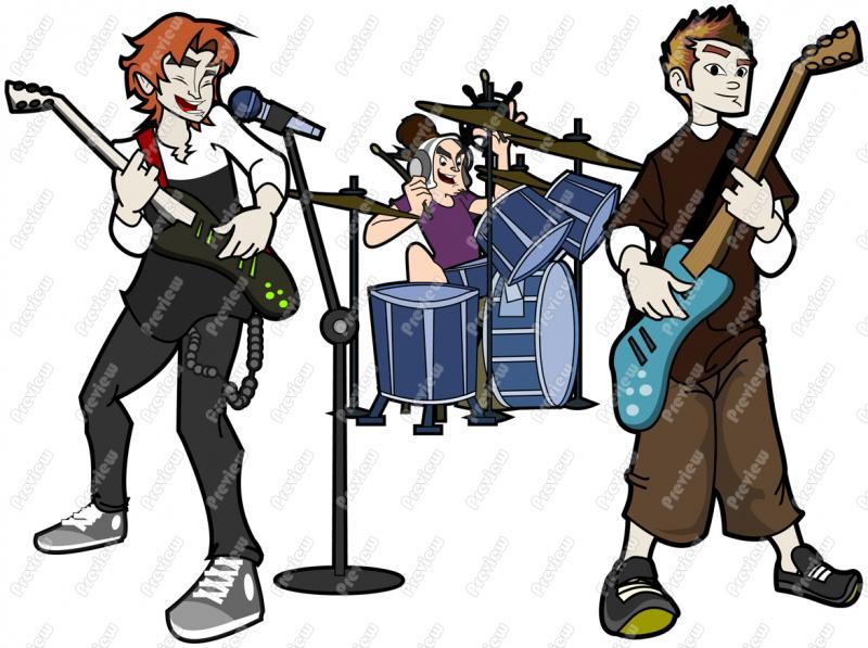 Band clipart band live. Cartoon