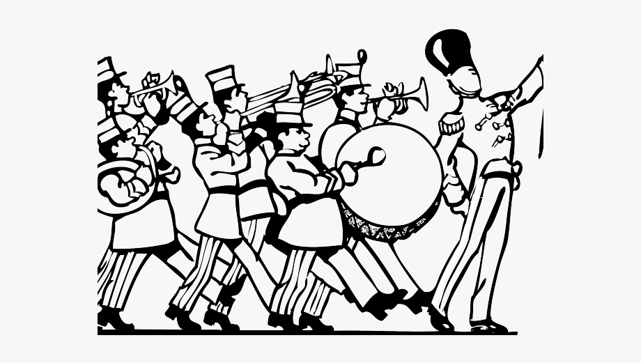 band clipart black and white