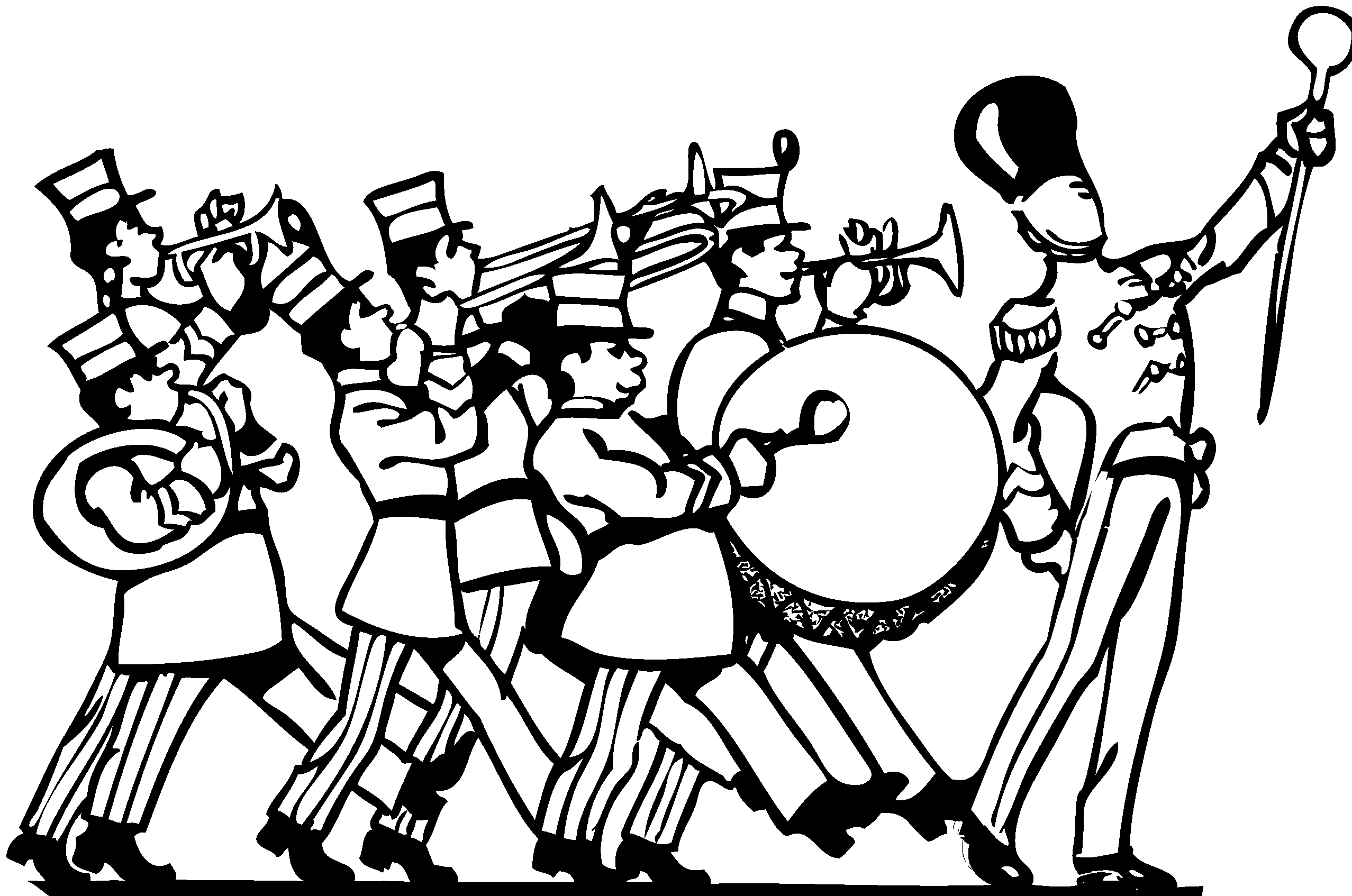 Unique marching collection digital. Band clipart black and white