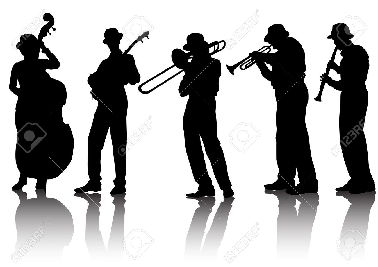 Blues band silhouette . Jazz clipart