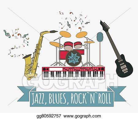Vector art rock n. Jazz clipart blues music