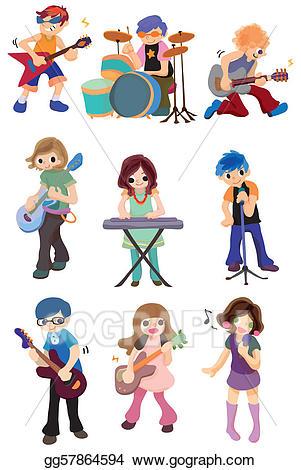 Vector stock rock icon. Band clipart cartoon