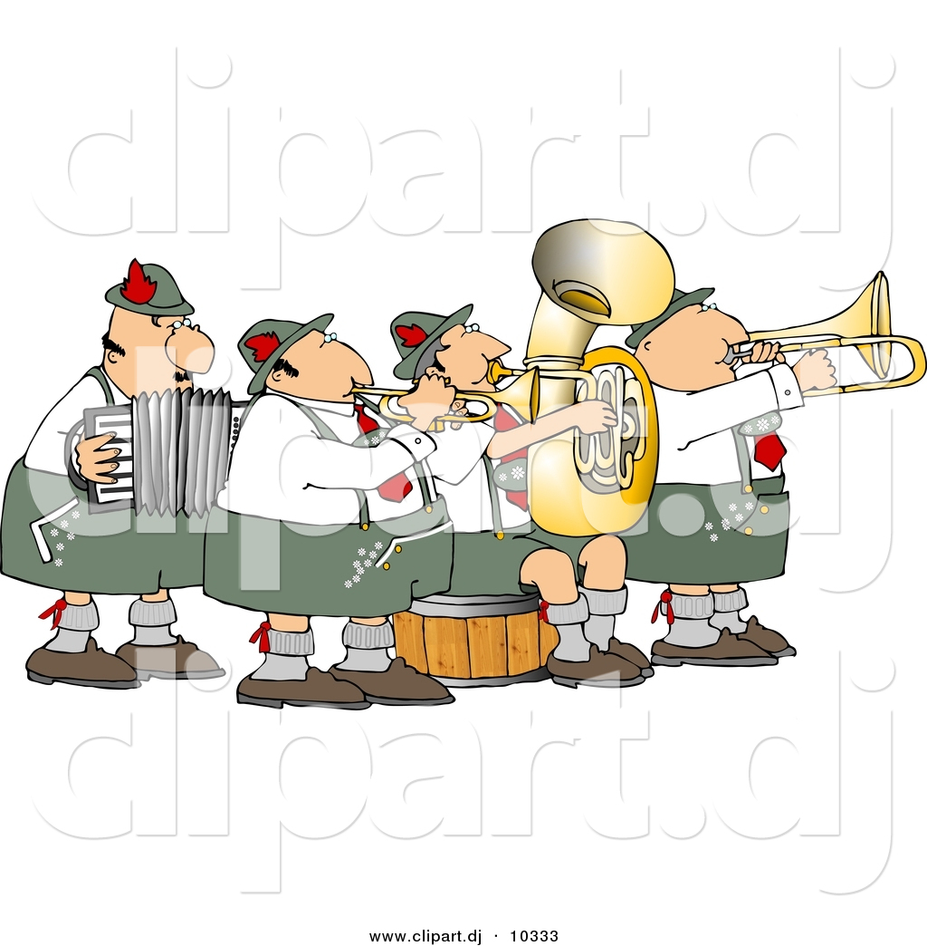 Band clipart cartoon. Of a german playing