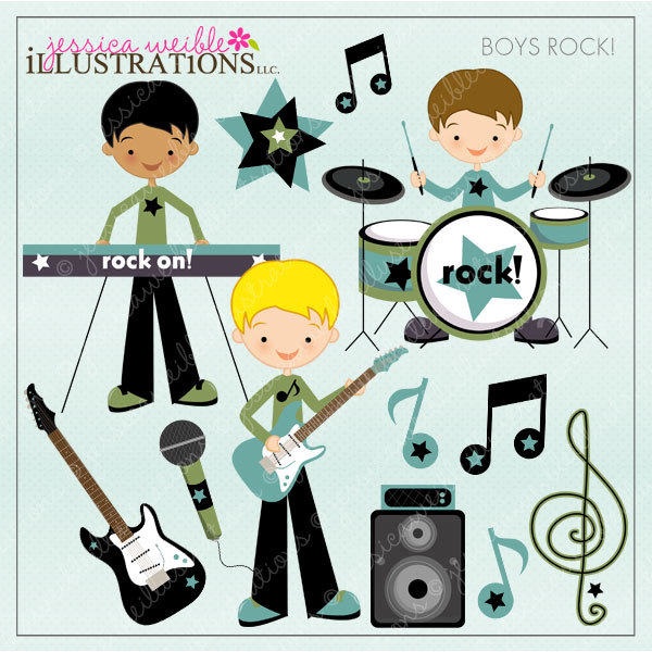 Boys rock digital for. Band clipart cute