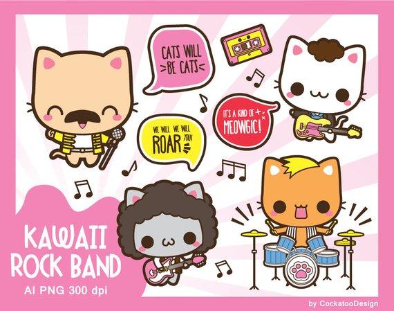 Kawaii rock star . Band clipart cute