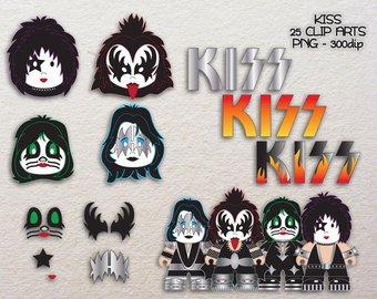 Band clipart cute. Kiss etsy clip art