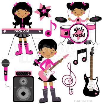 Dark girls rock digital. Band clipart cute