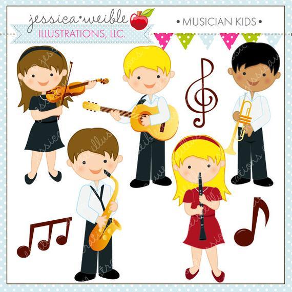 Band clipart cute. Musician kids digital commercial