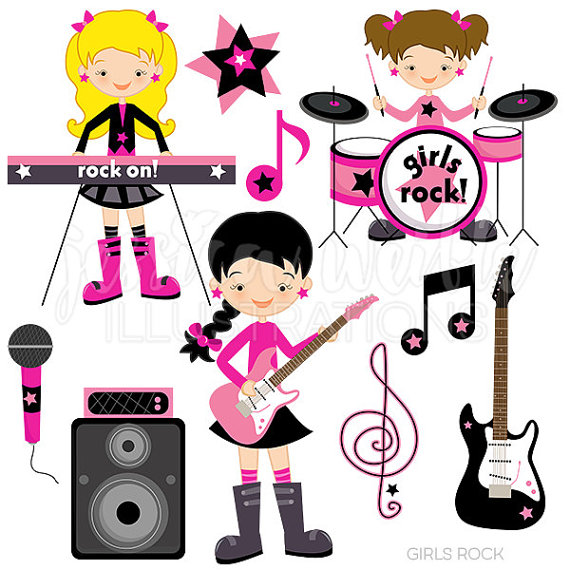 Band clipart cute. Girls rock digital commercial
