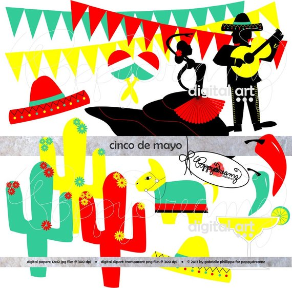 Band clipart fiesta. Cinco de mayo digital