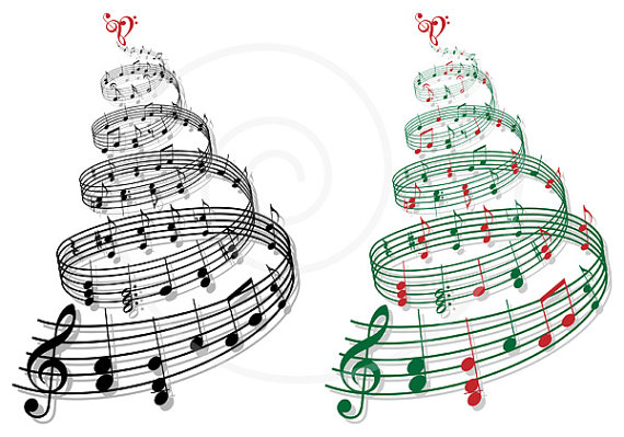 Christmas tree with music. Band clipart holiday