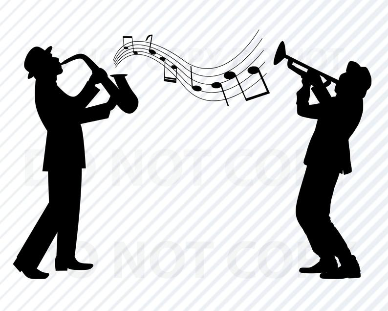 Band svg files for. Jazz clipart muscian