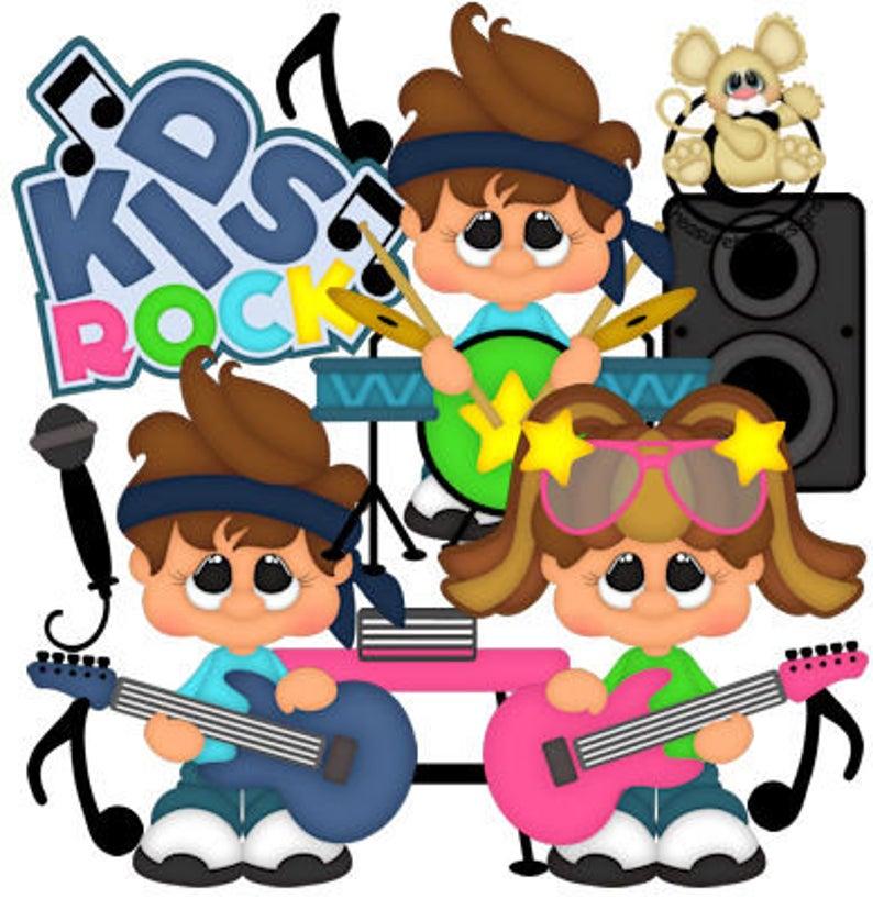 Band clipart kids rock. Vector graphics digital images