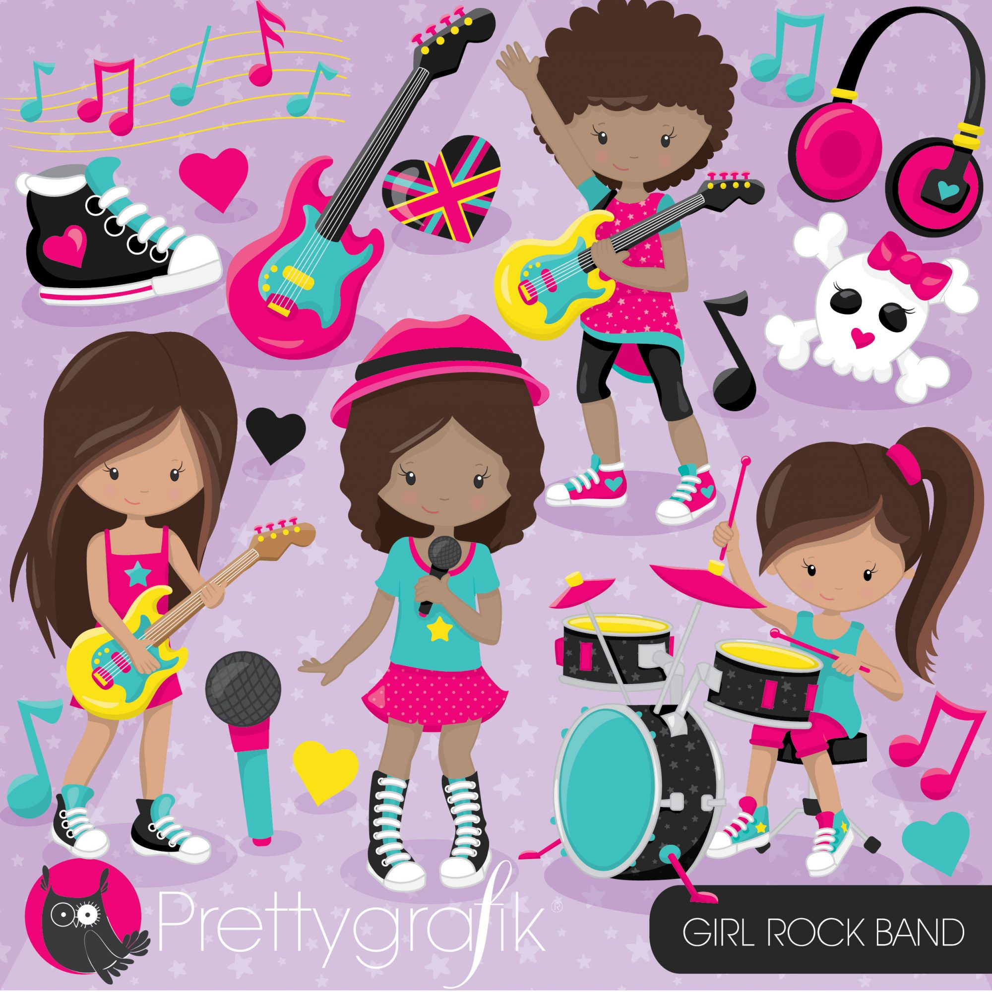 Band clipart kids rock. Girl prettygrafik store