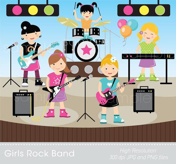 Digital girls for scrapbooking. Band clipart kids rock
