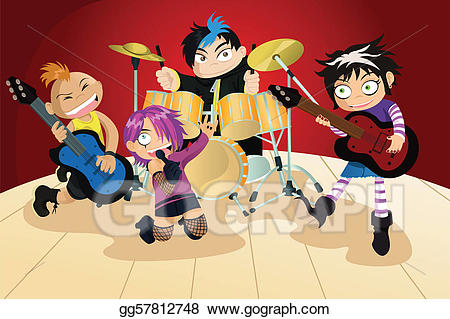 Vector illustration of four. Band clipart kids rock