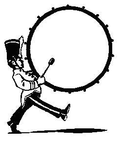 Marching drummer music themed. Band clipart pep band