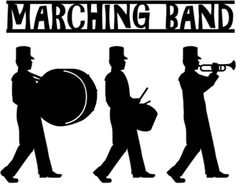 Band clipart pep band. Marching silhouettes free nerds