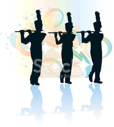 Band clipart pep band. Marching flute flutist silhouette
