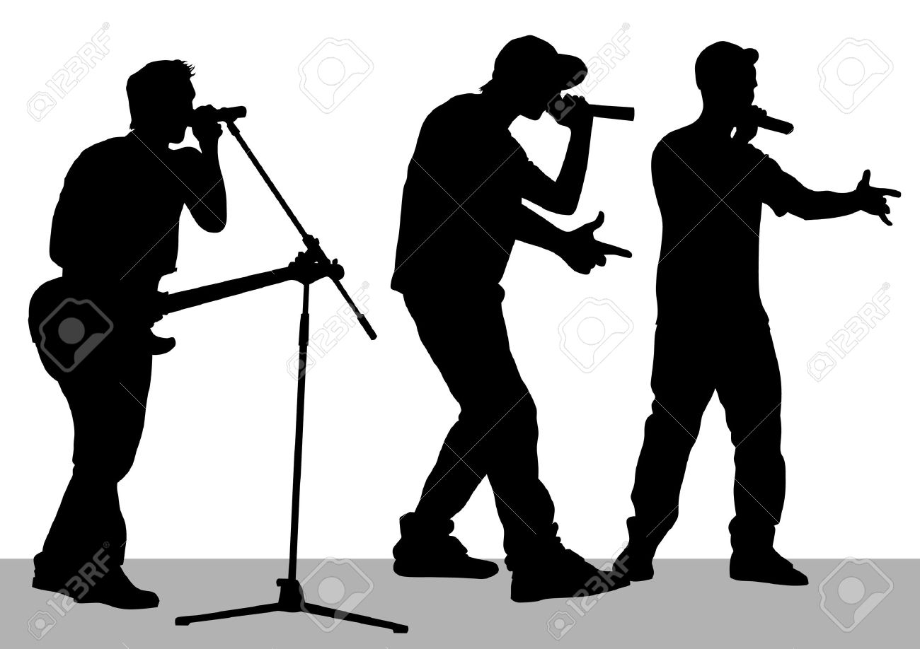 Musician clipart pop band. Silhouette at getdrawings com