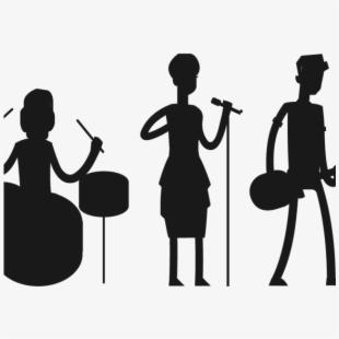 Musician clipart pop band. Rock music silhouette