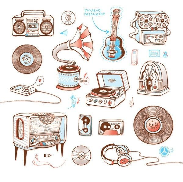 best electronics icons. Band clipart retro