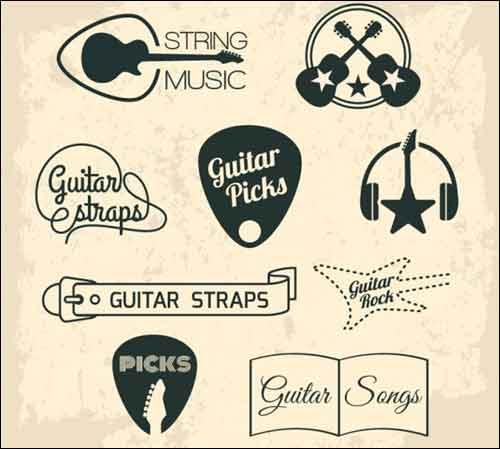 Music clip art sets. Band clipart retro
