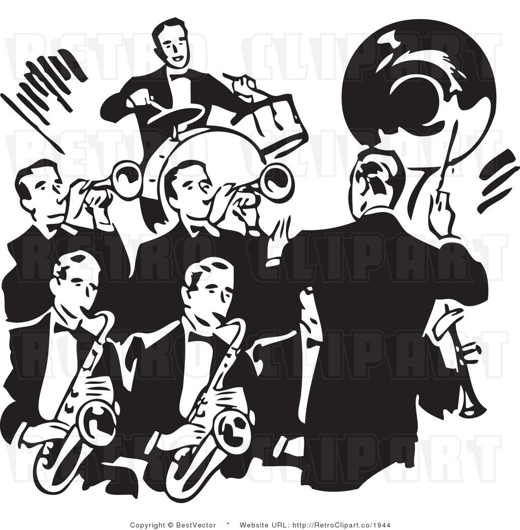 band clipart retro