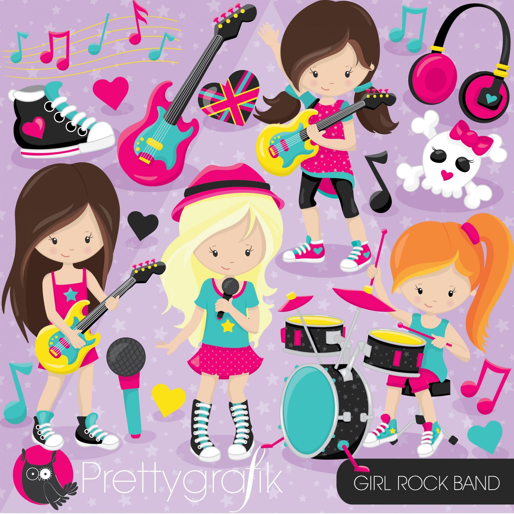 Girl prettygrafik store. Band clipart rock band