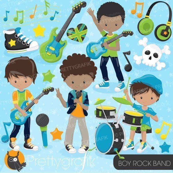 Band clipart rock band. Boy prettygrafik store