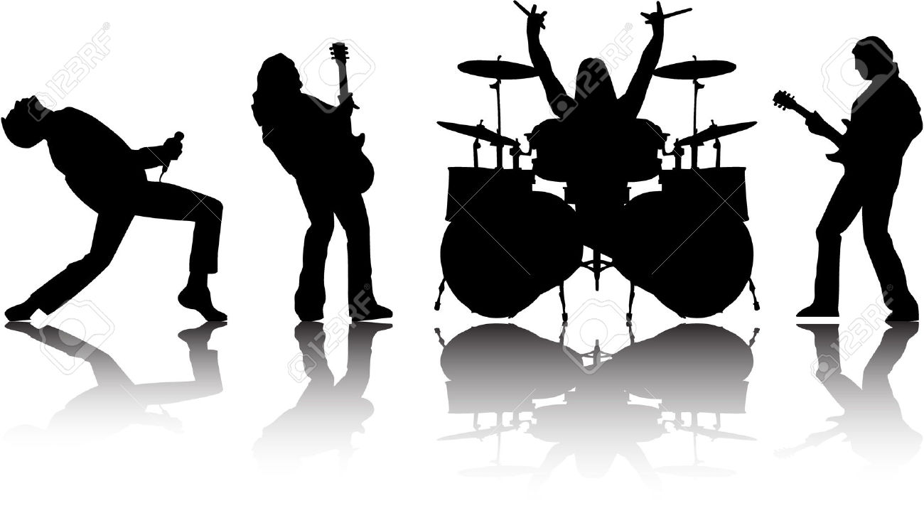 Musician clipart musical performance. Rock band silhouette
